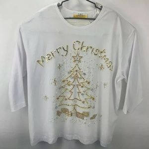 C.S.T. SPORT WOMENS WHITE MERRY CHRISTMAS SIZE 4X